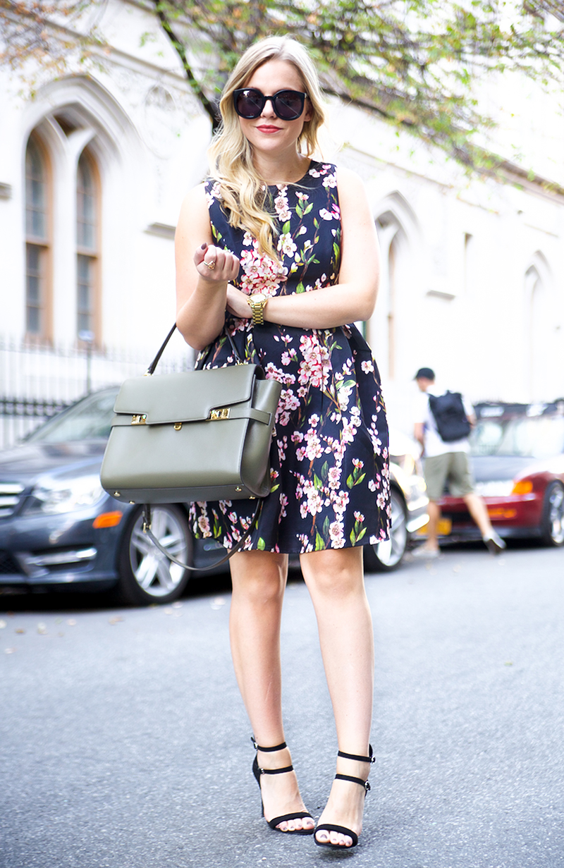 Fall floral fit and flare dress, olive henri bendel satchel