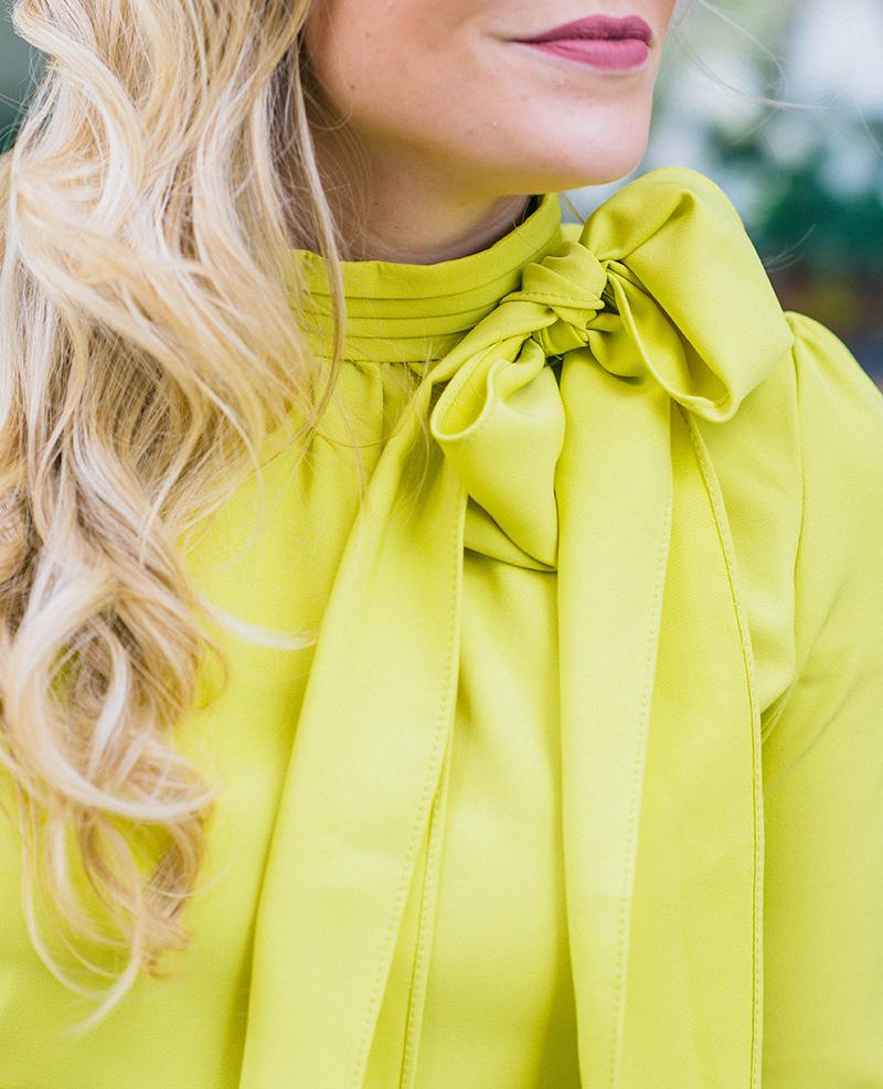 citron bow blouse
