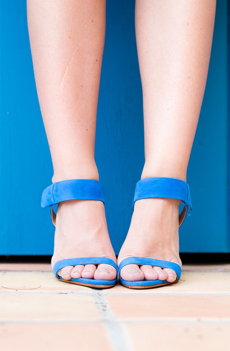 Shutz cobalt ankle strap heeled sandals