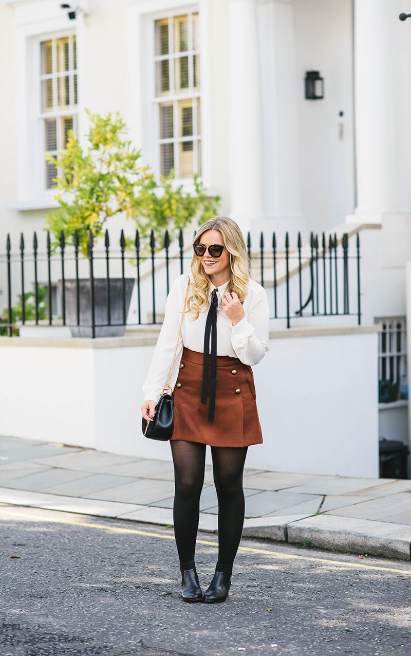 military mini skirt, cognac mini skirt