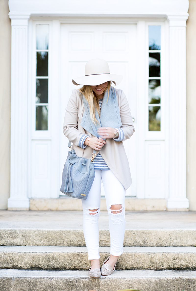 icy grey and tan coat, white distressed denim
