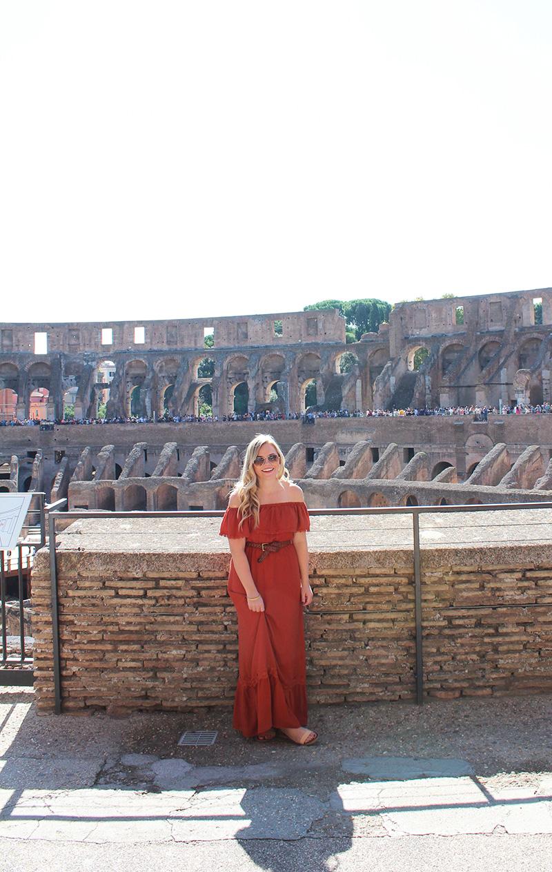 rust maxi dress in rome, msc cruise in rome