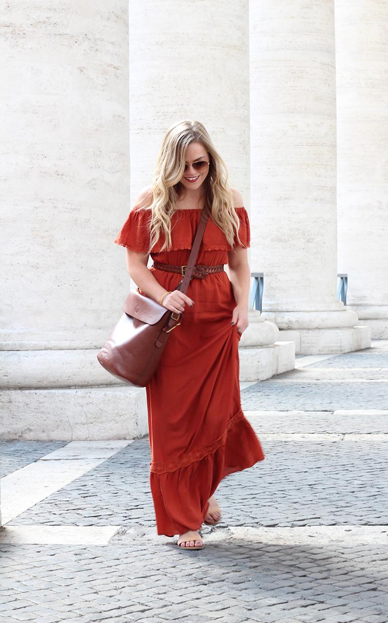 rust colored maxi dress in Rome