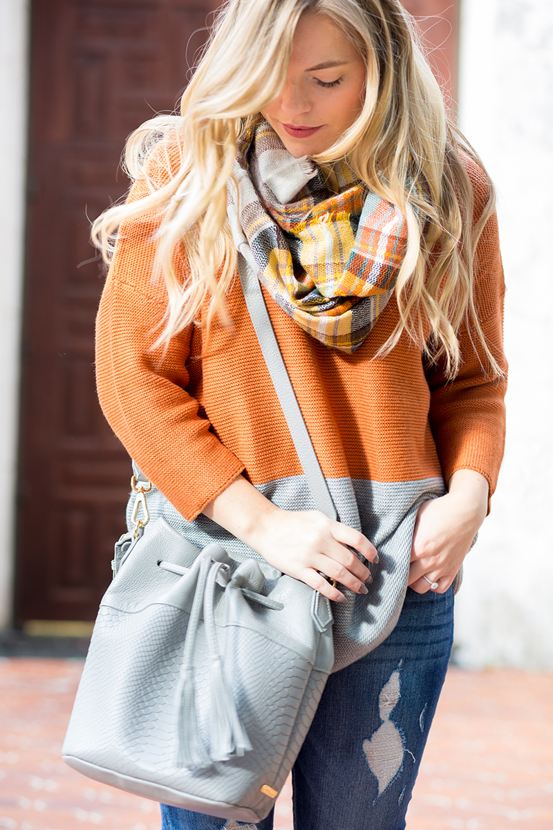 autumn orange sweater from L. Mae Boutique