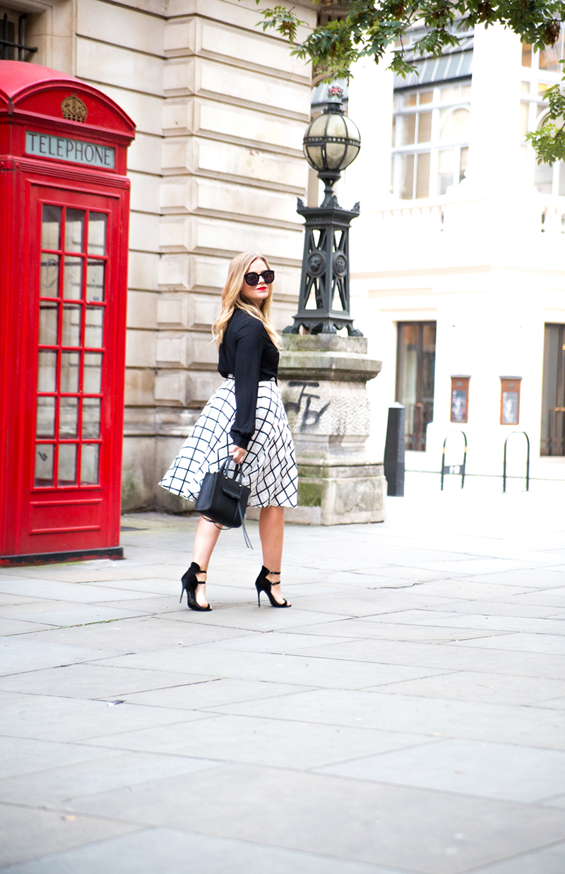 Black White Checkered Midi Skirt