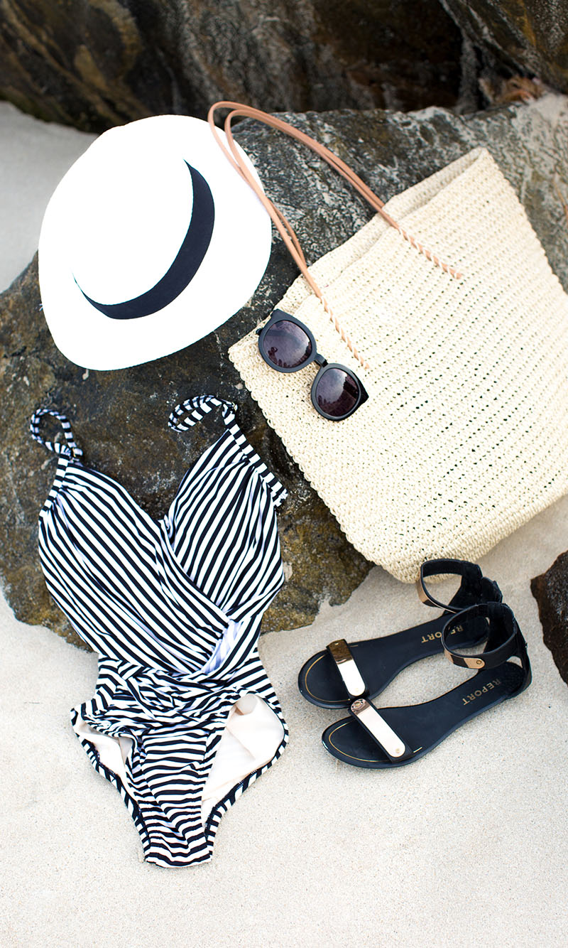 black and white stripped one piece swimsuit