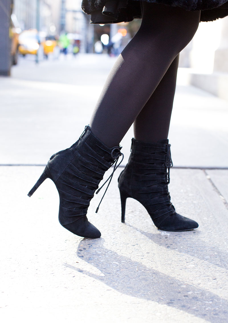 Joie Black Suede Lace Up Booties