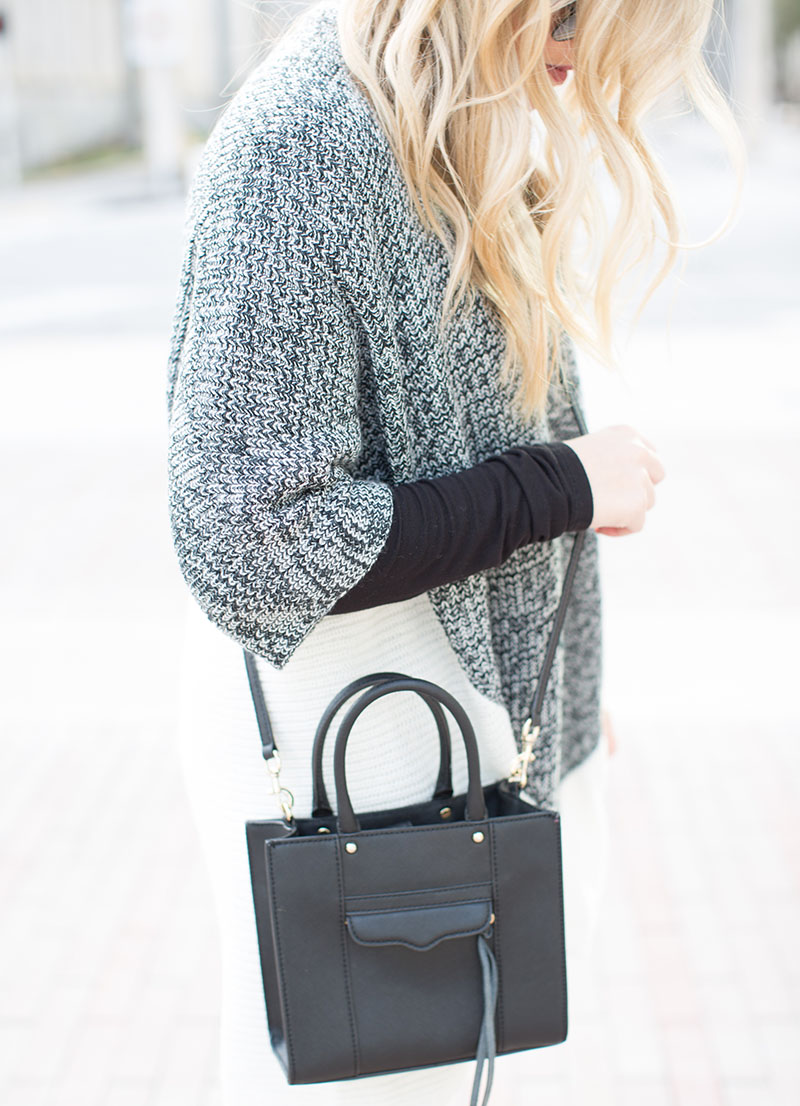 Color blockblack and white Cardigan