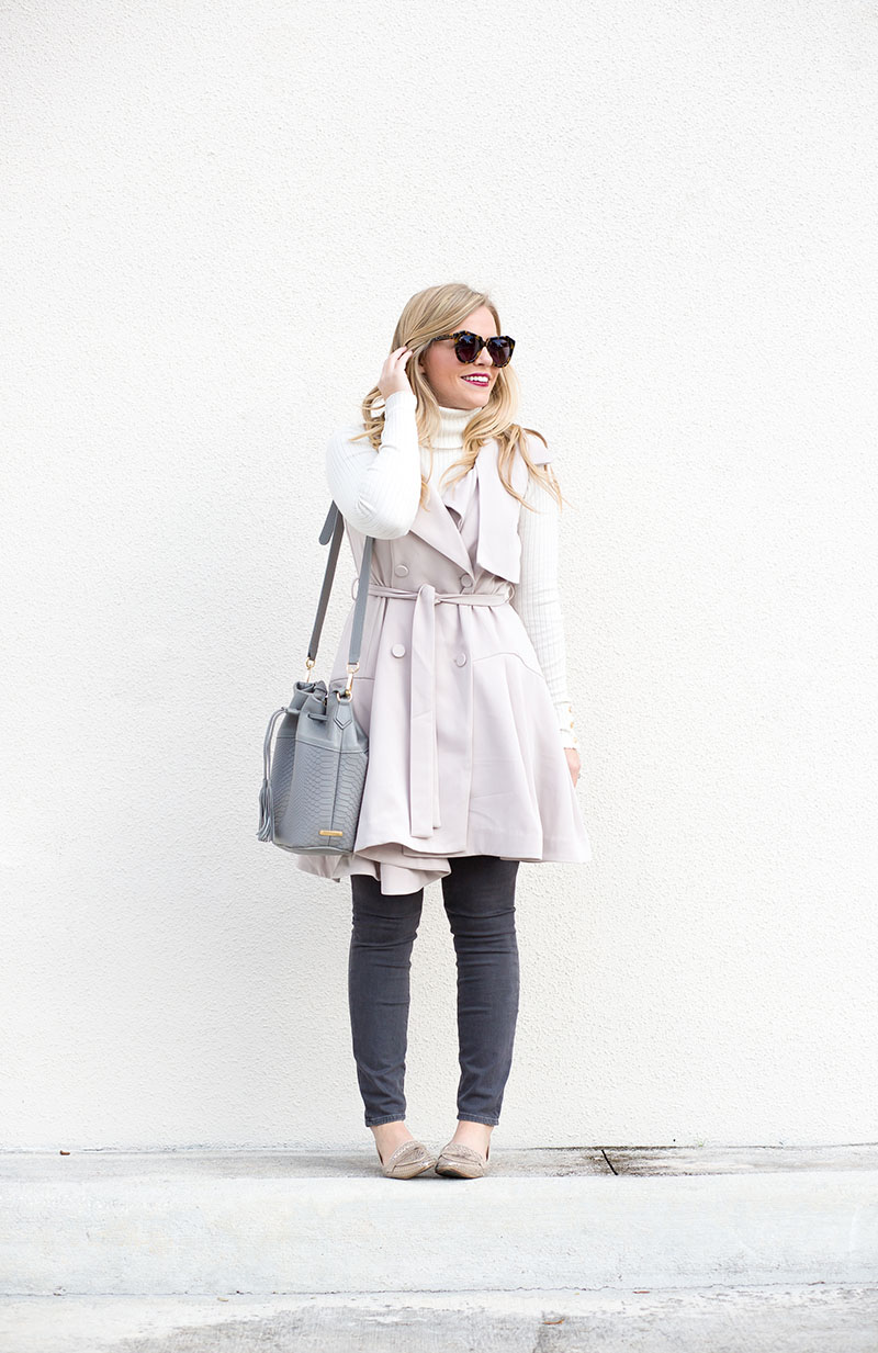 Blush Sleeveless Trench