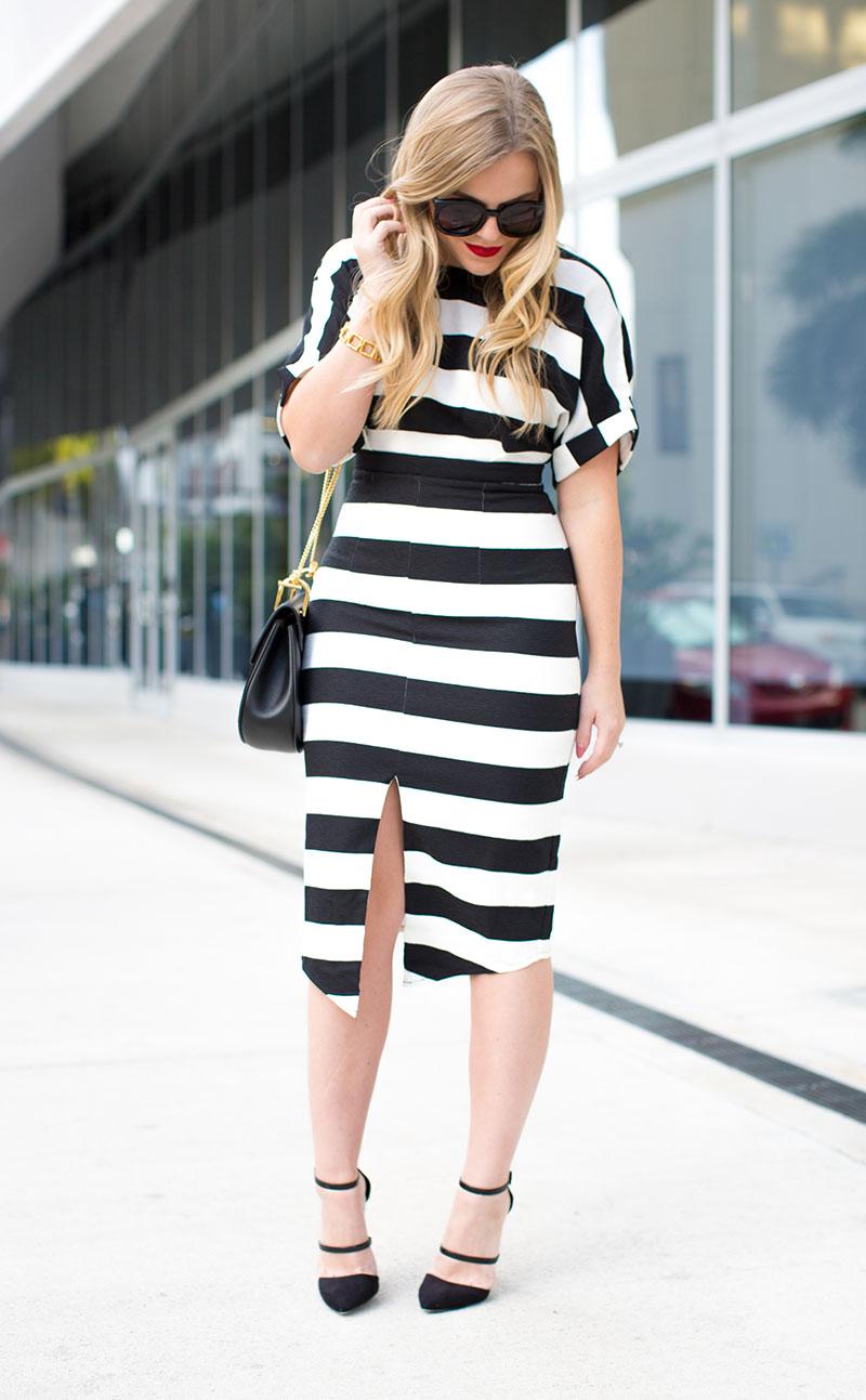 Black + White Stripe Midi Dress