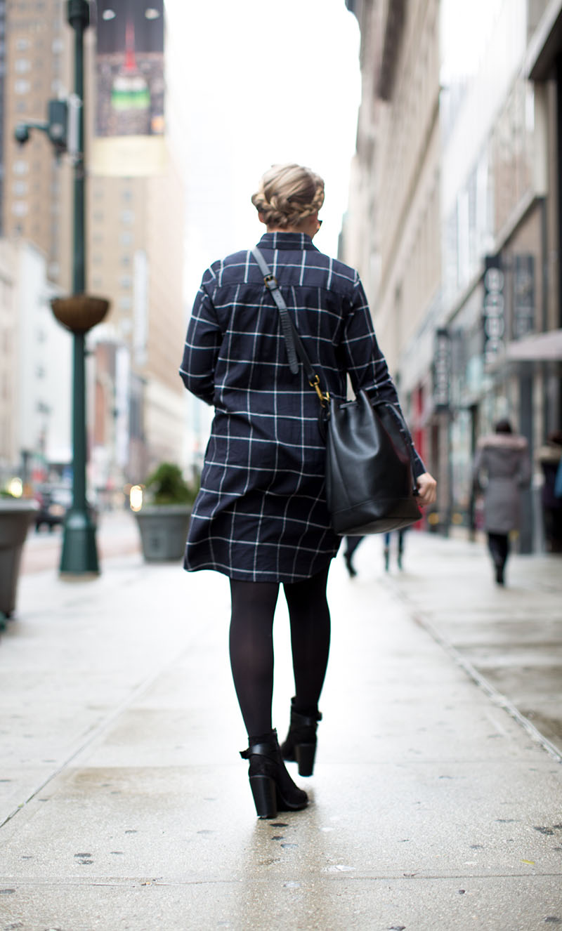 black and blue Check Button-down Dress