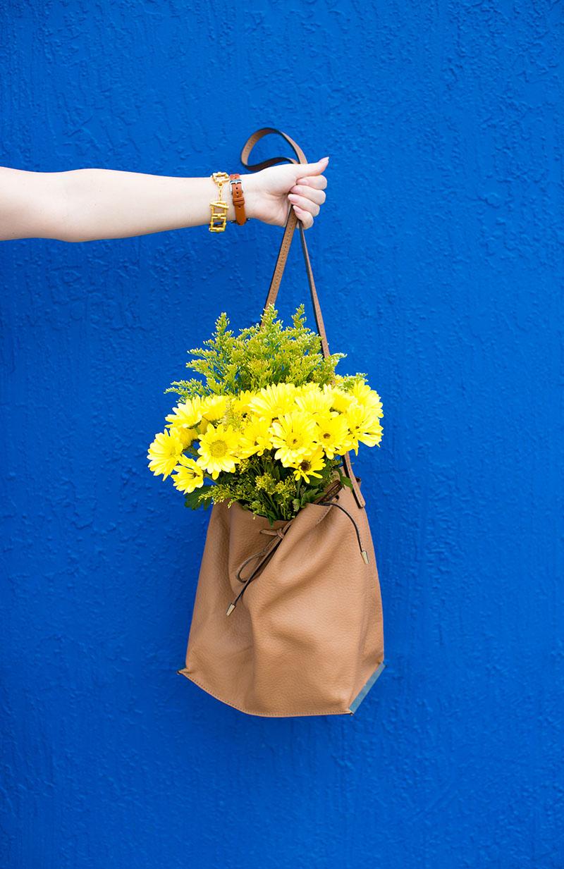 floral bucket bag, camel bucket bag