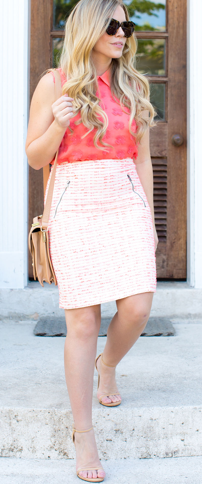 Pink + Coral Tweed Pencil Skirt