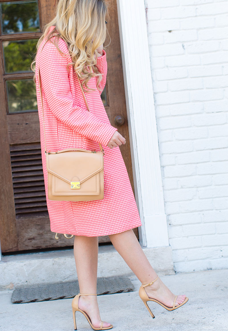 textured pink tweed summer coat
