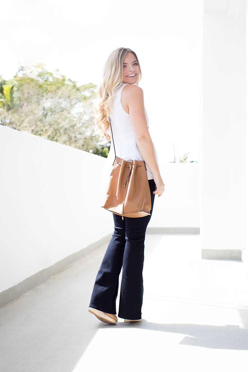 White Peplum Tank + Flares | Living In Color Print