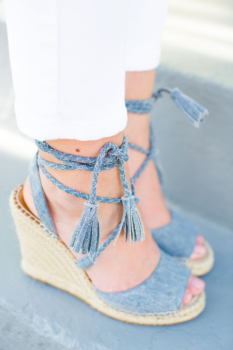 denim Joie wedges, chambray wedges