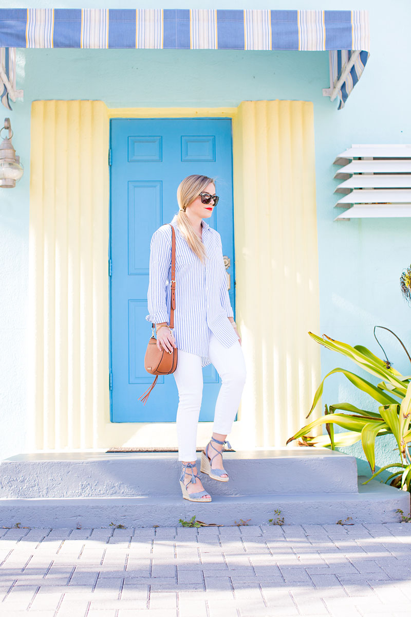 Blue and white Stripe Button-Down, white skinny jeans