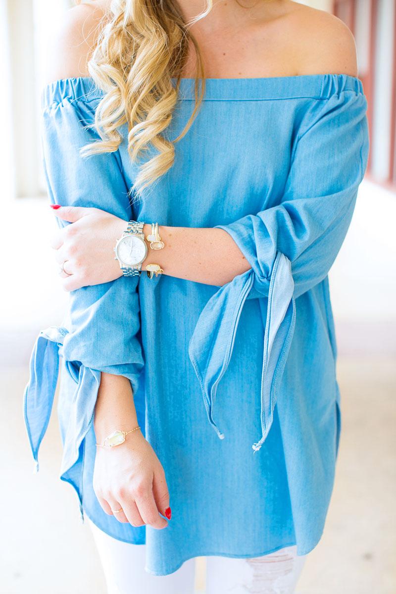 light blue off-the-shoulder tie sleeve top
