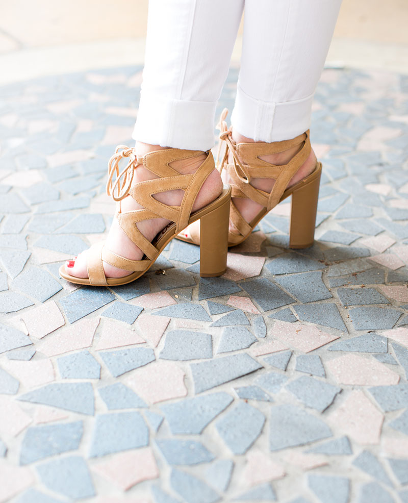 Beige Tie-Up Heeled Sandals , Sam Edelman Taudry heels