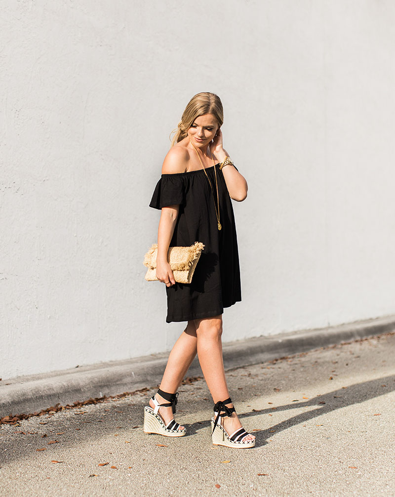 Black Off-The-Shoulder Dress, raffia clutch