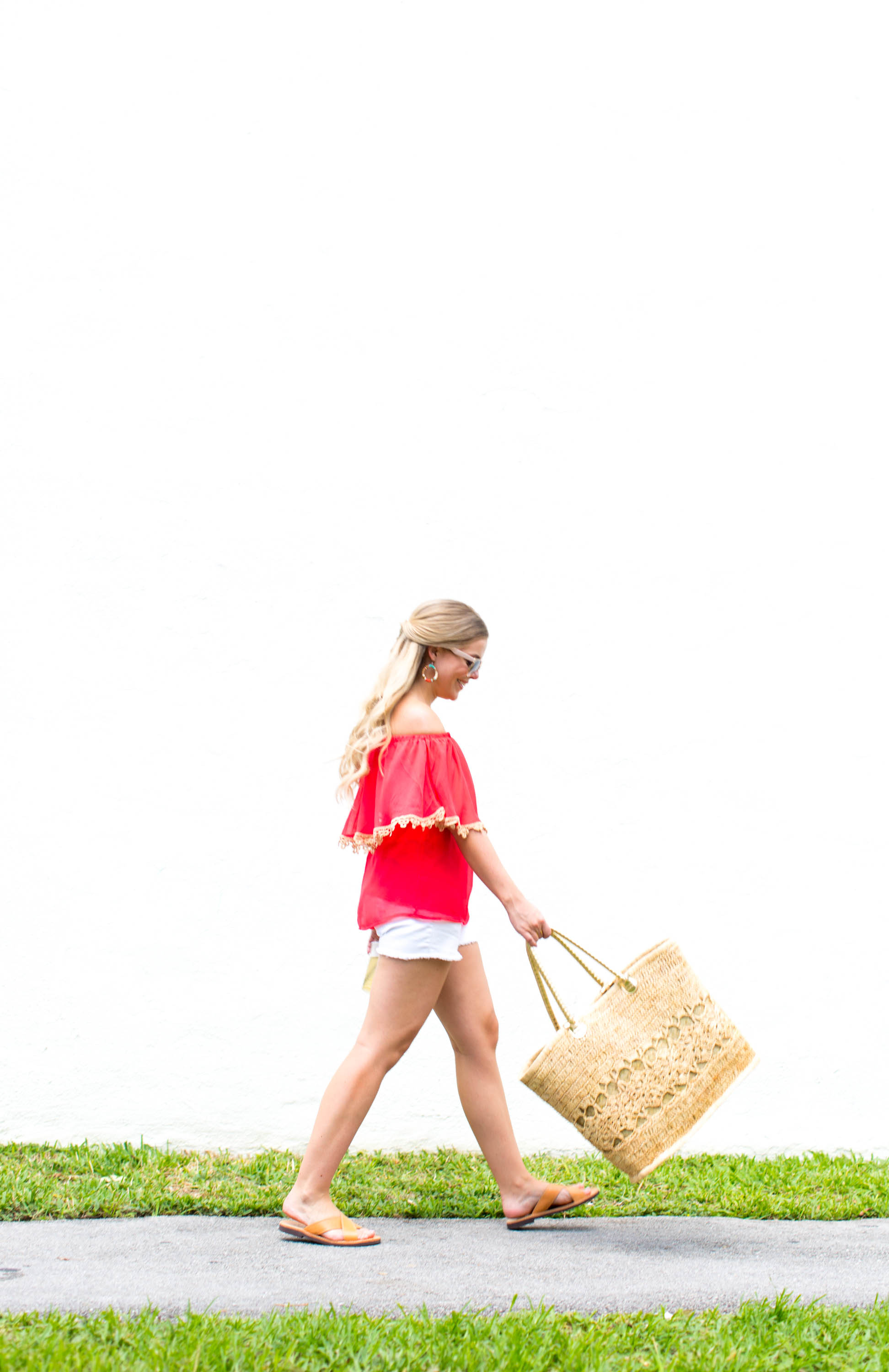 Coral Off-The-Shoulder Blouse