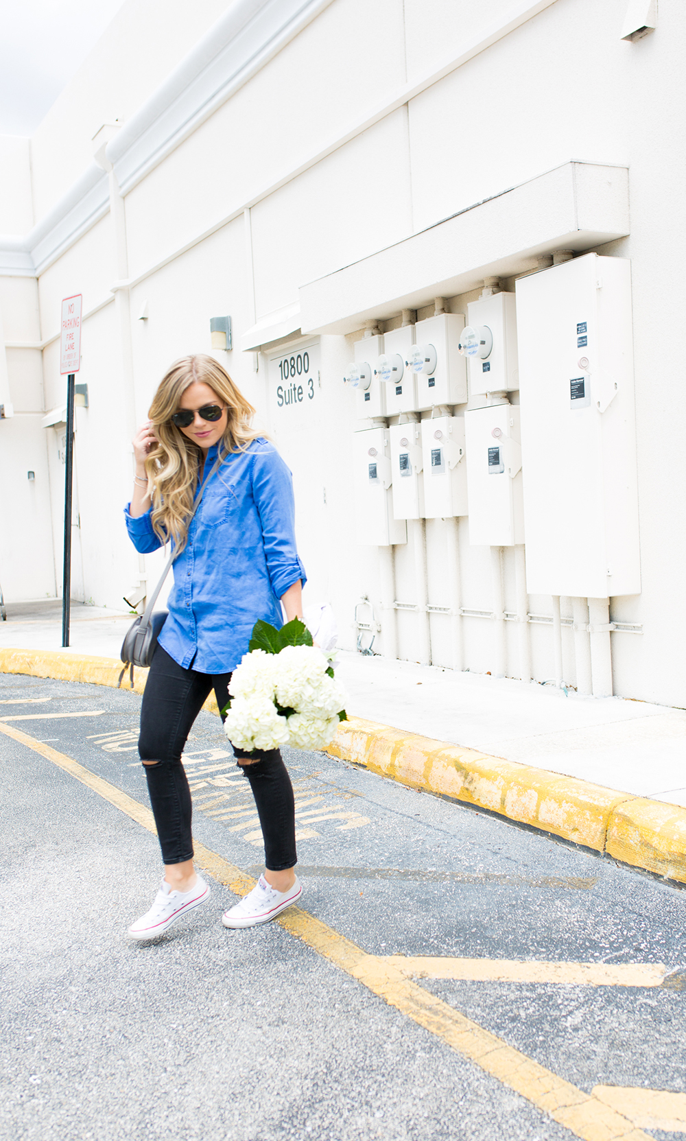 casual friday, black jeans + blue button-down