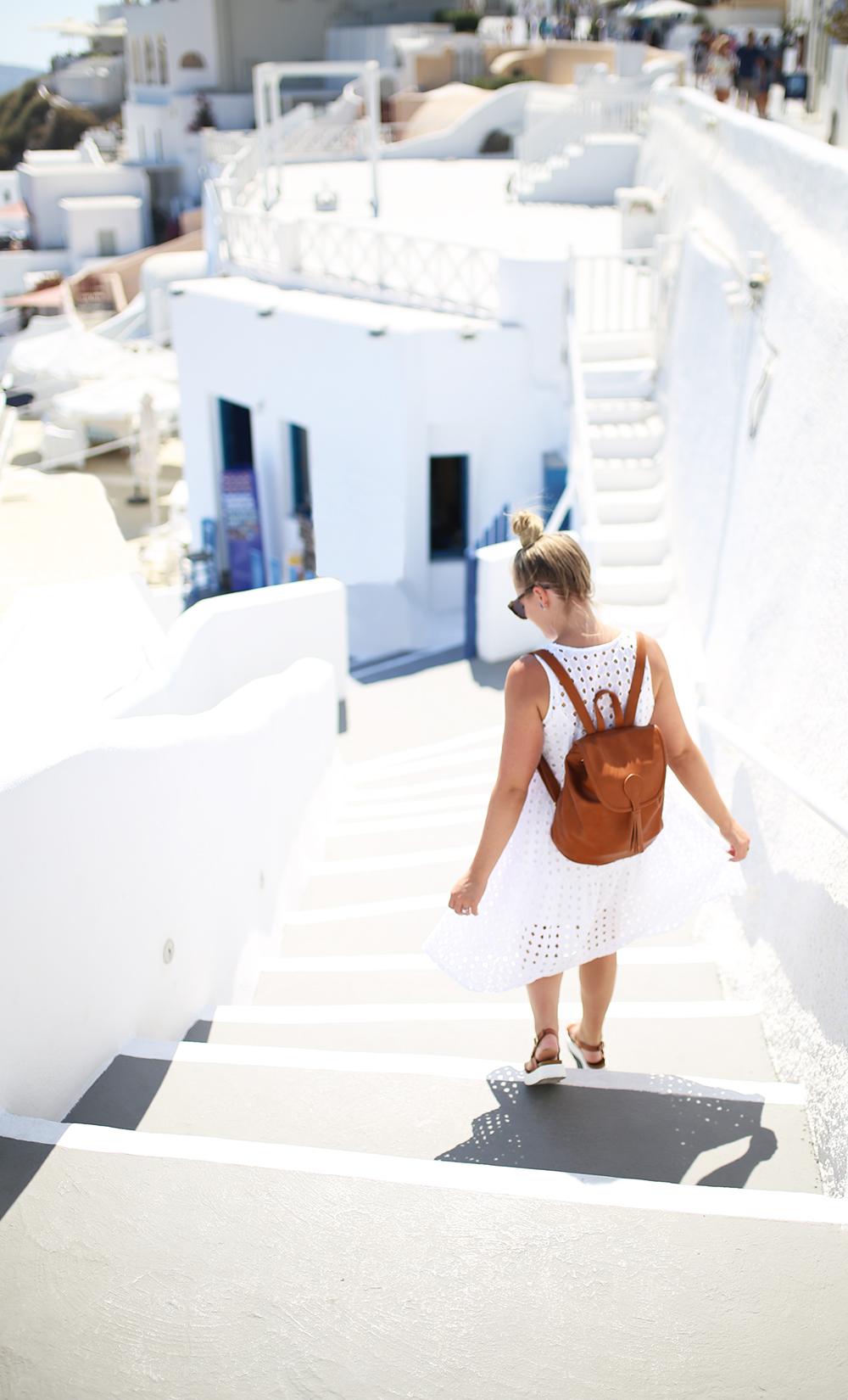 White Eyelet Dress in Santorini