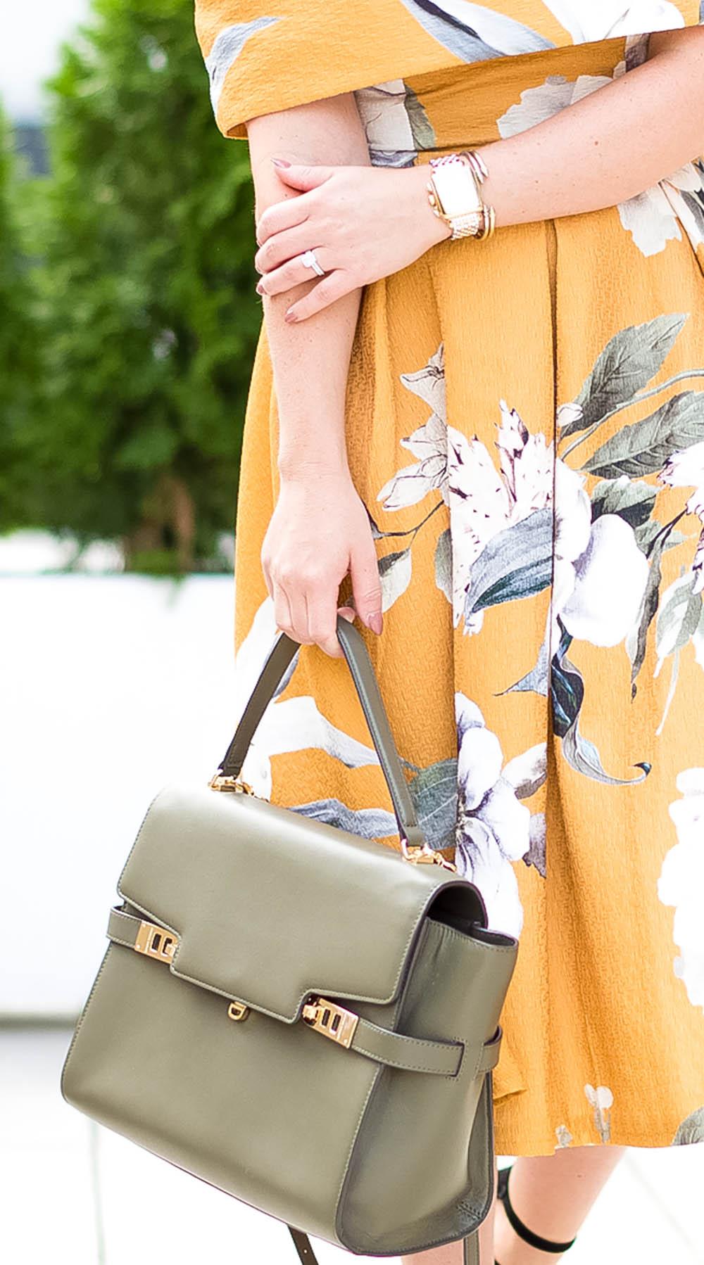 Off the Shoulder Mustard Floral Print Dress