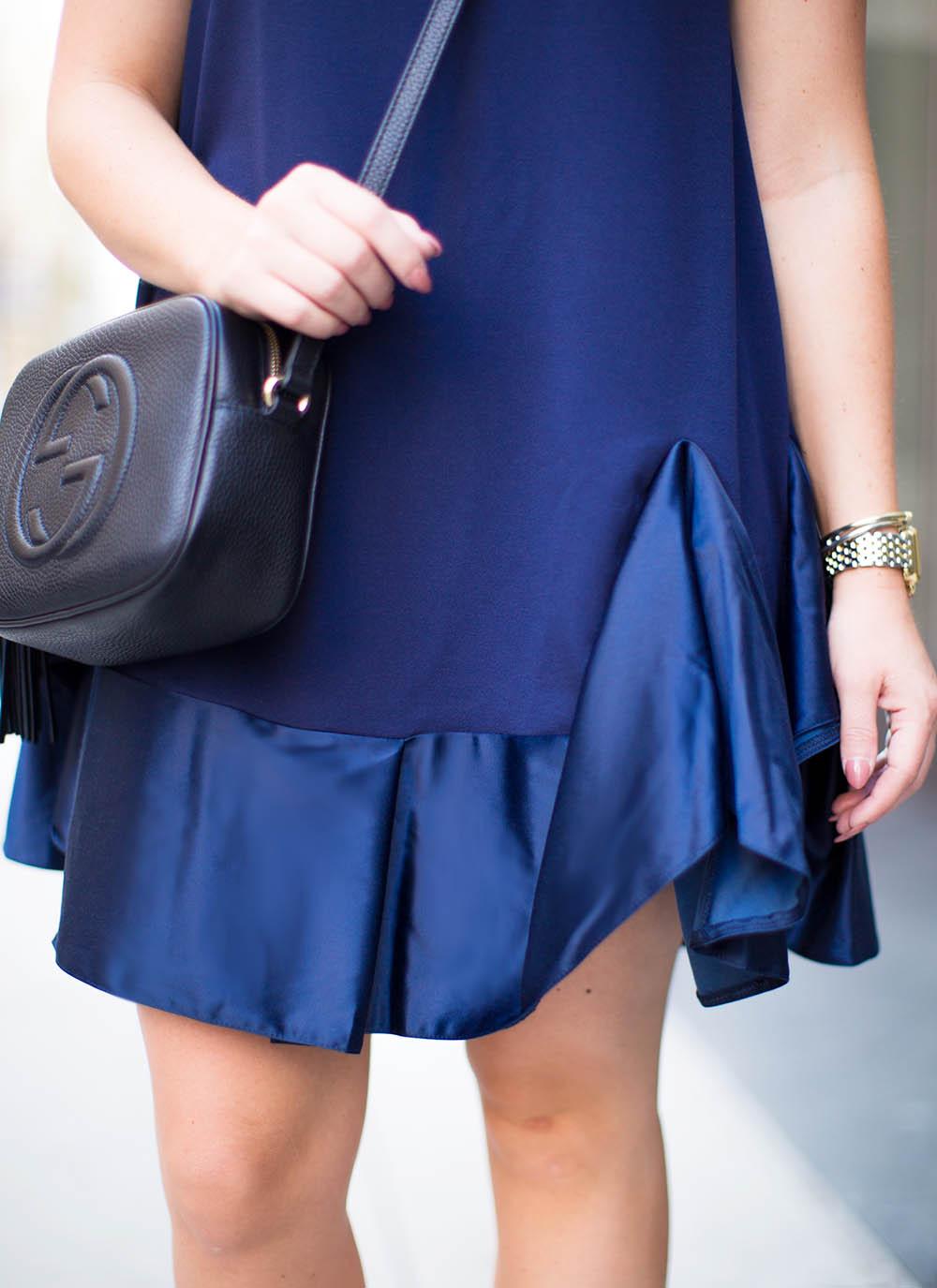 Navy Satin Hem Dress | Living In Color Print