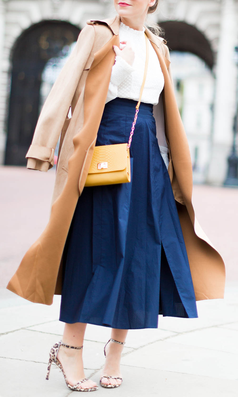 Navy Skirt + Camel Trench
