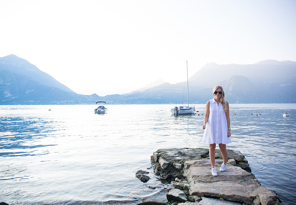 White Trapeze Dress in Lake Como