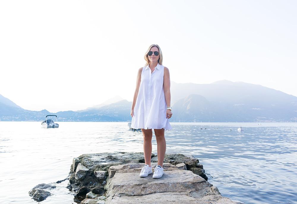 White Trapeze Dress in Lake Como