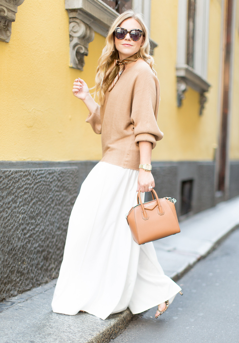 White Wide Leg + Camel Sweater