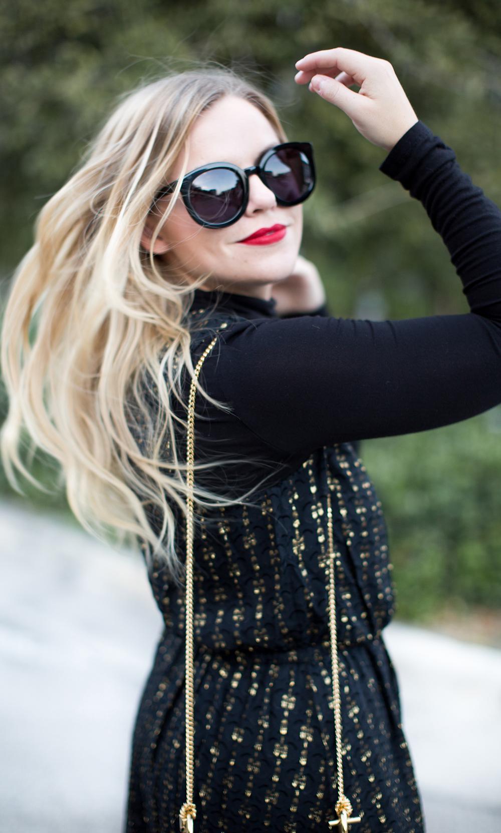 Black + Gold Metallic Dress