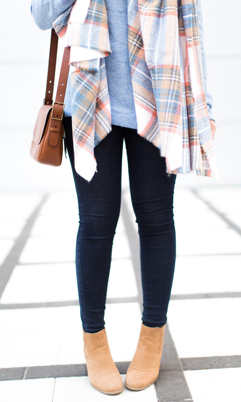Winter Pale Blue Sweater + Plaid Scarf