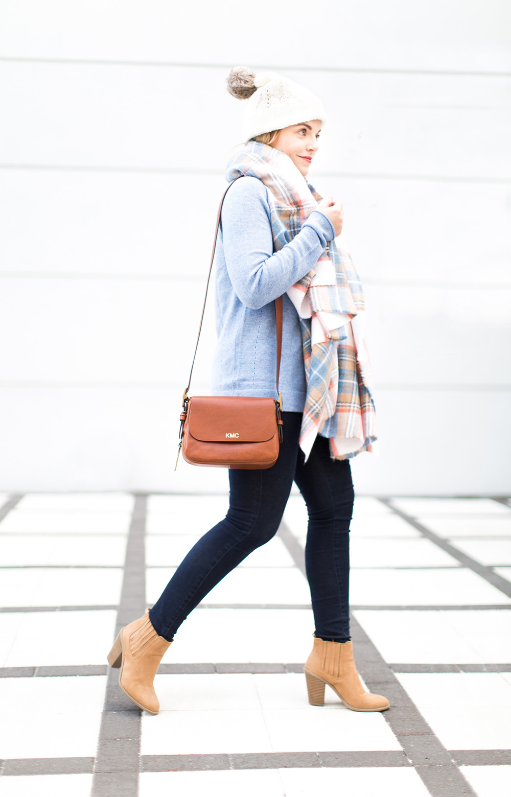 Winter Pale Blue Sweater + Plaid Scarf