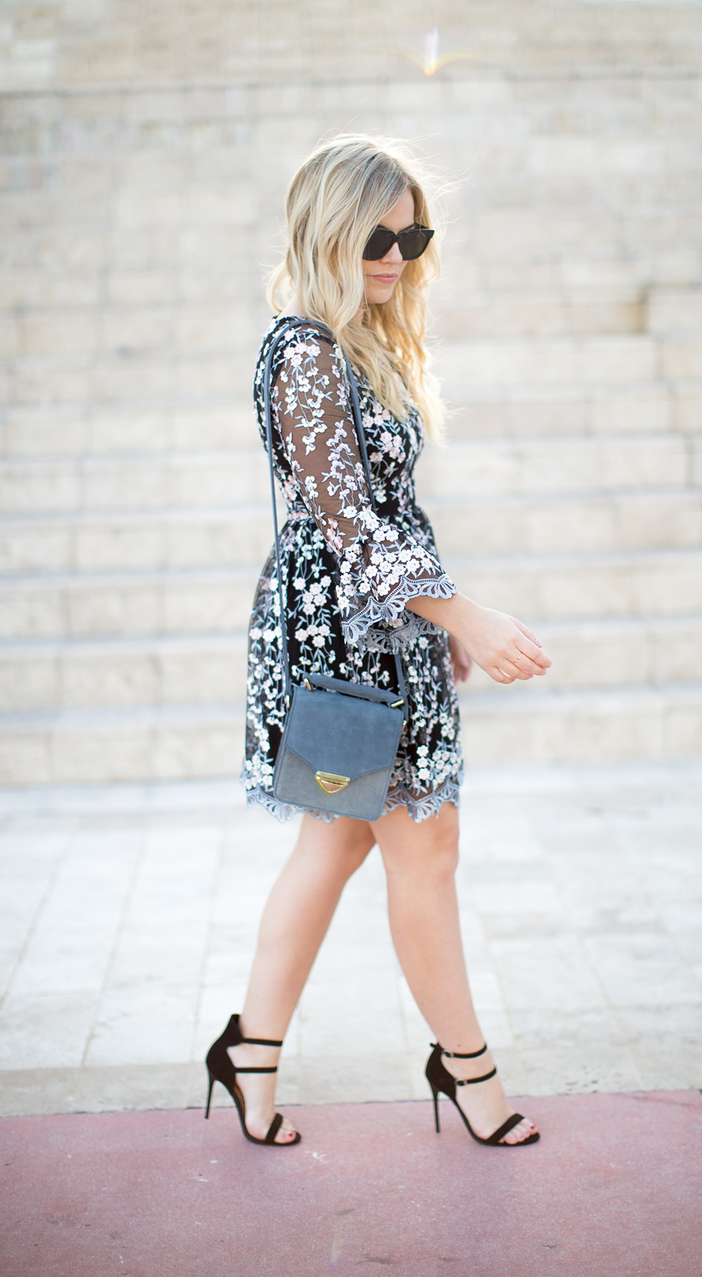 Floral Embroidered, Bell Sleeve Dress