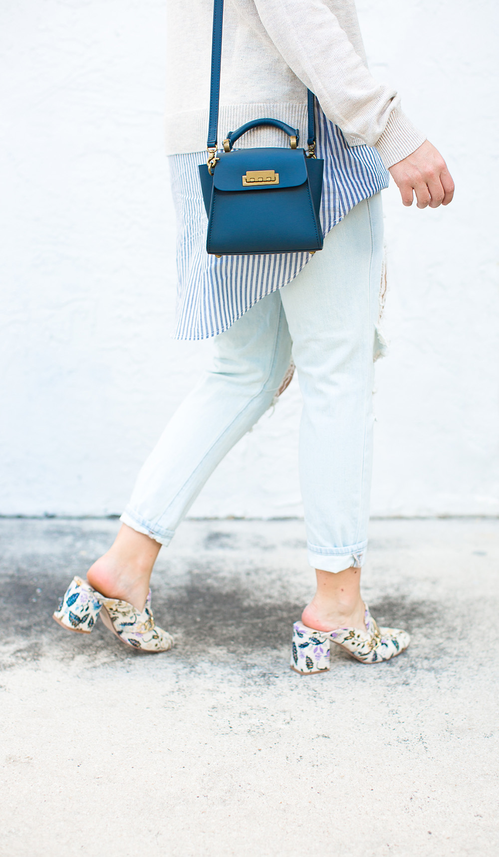 Embroidered Mules + Busted Denim