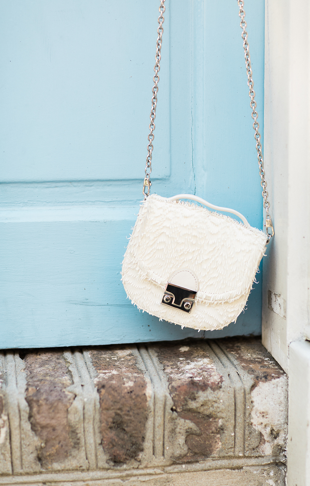 White Textured Crossbody