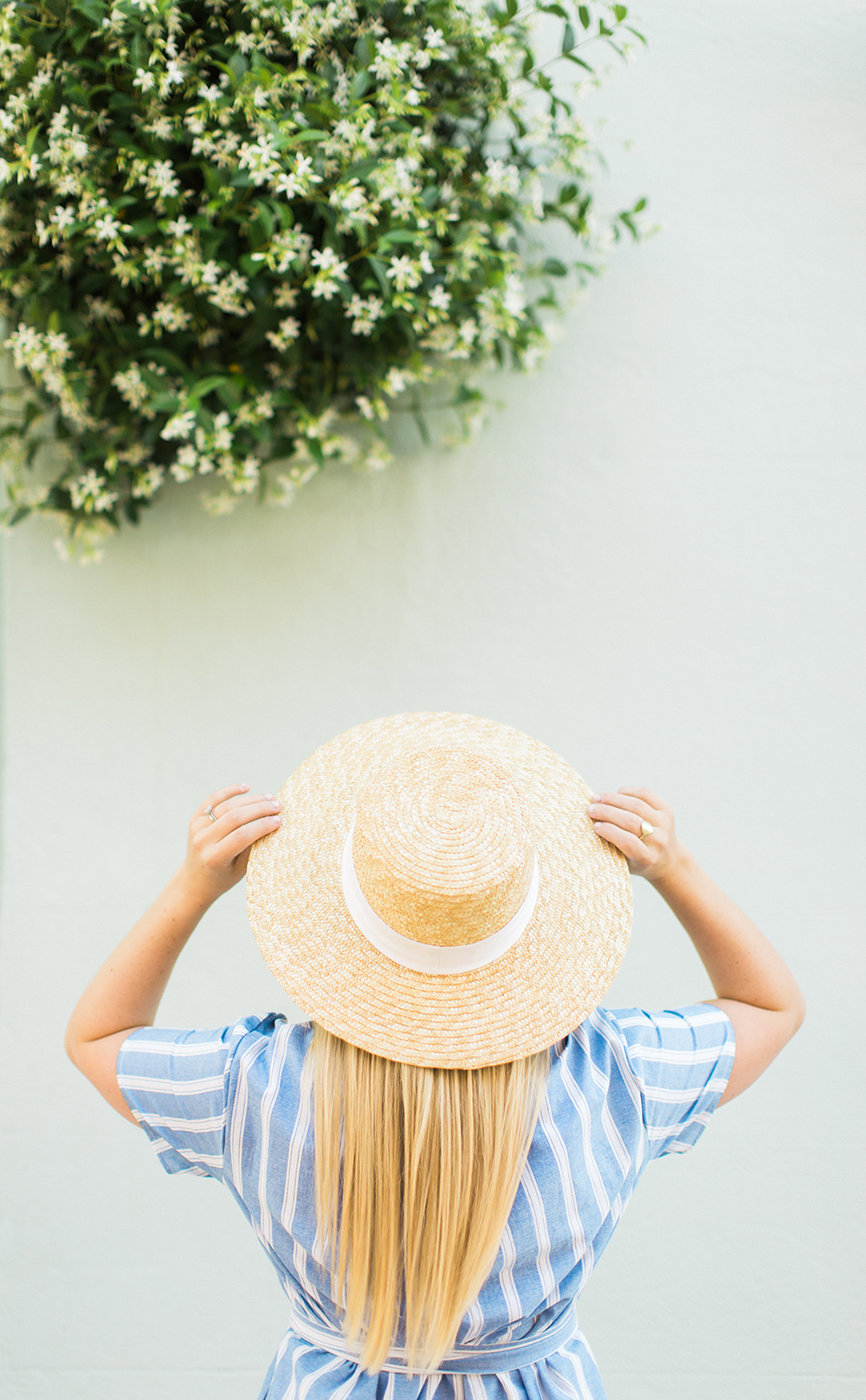 Blue Stripe + Wide Brim Hat