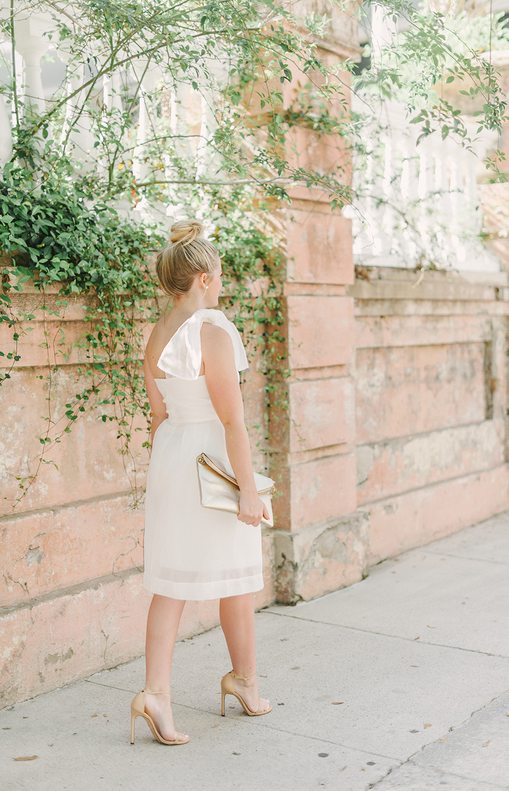 White Shoulder Bow Dress | Downtown Charleston