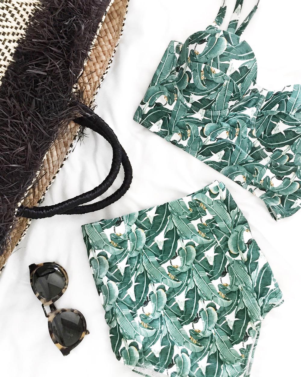 Palm Print Bathing Suit