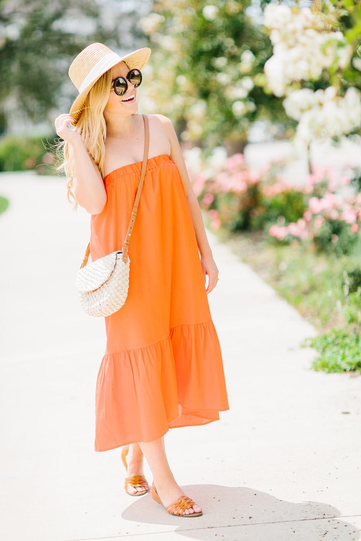 Tangerine Orange Strapless Dress