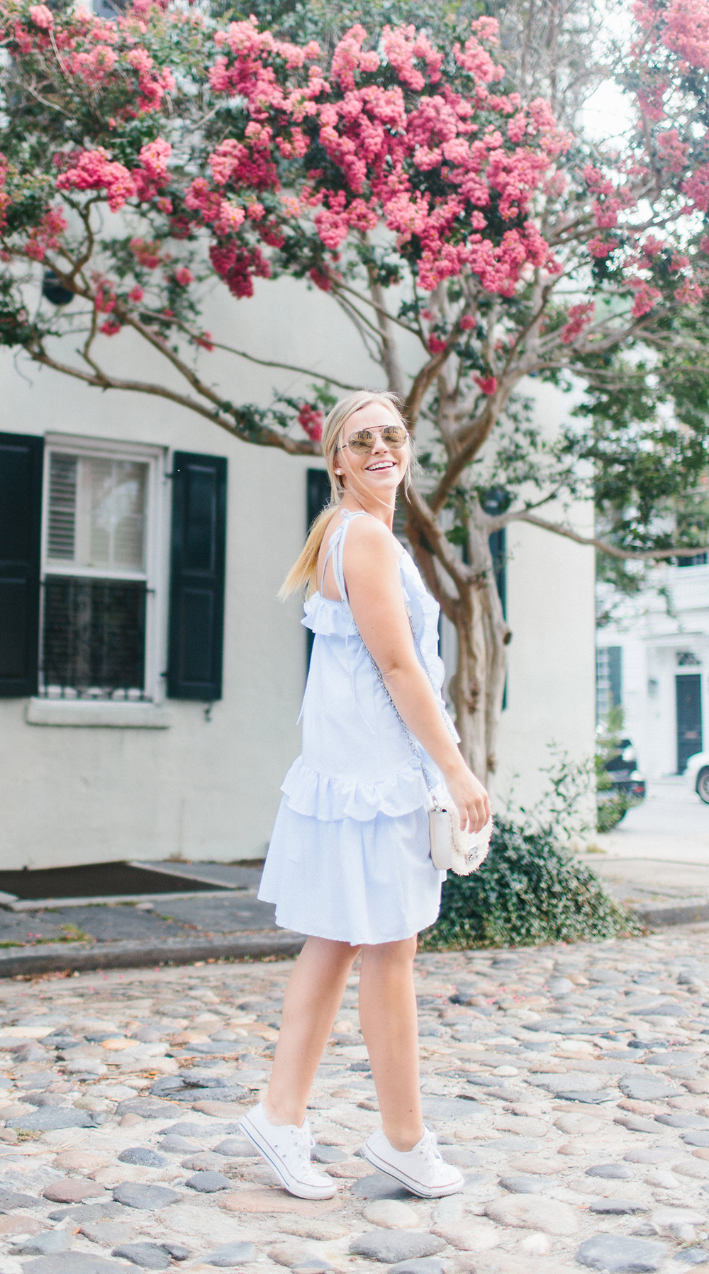 Ruffle Bib Dress | Living In Color Print