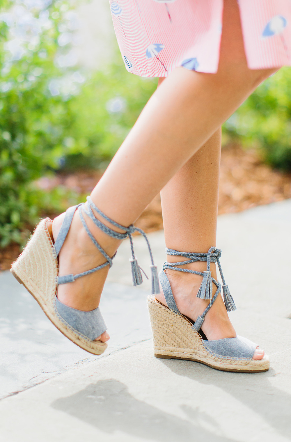 Chambray Denim Wedges