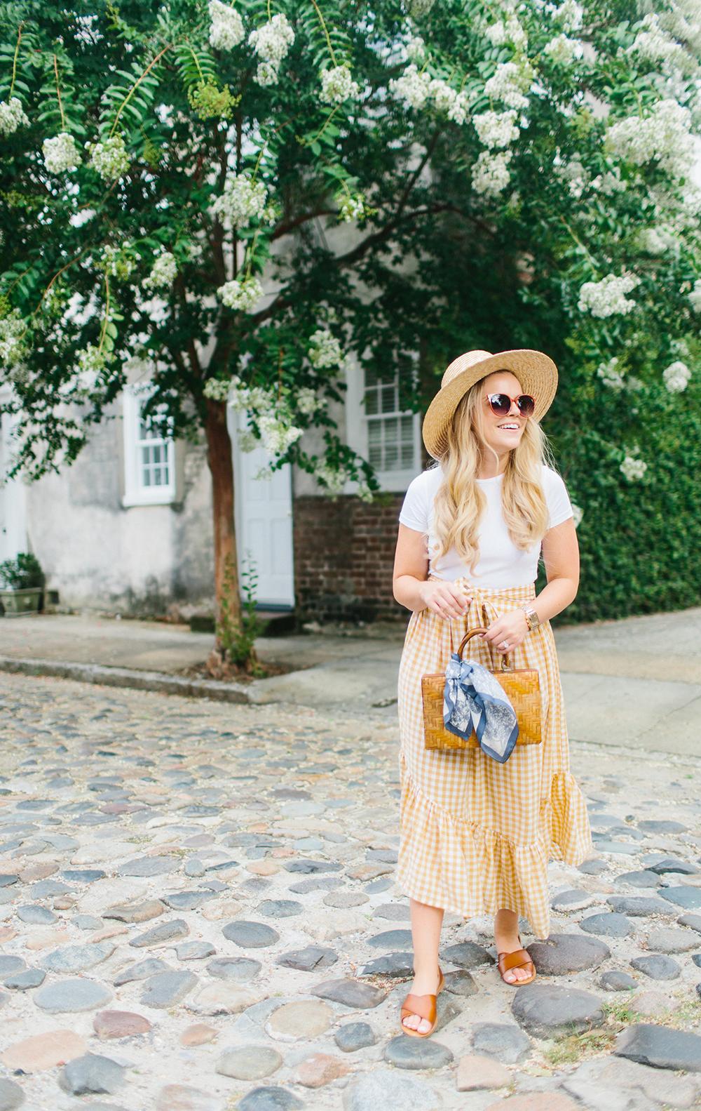 Yellow Gingham Ruffle Skirt