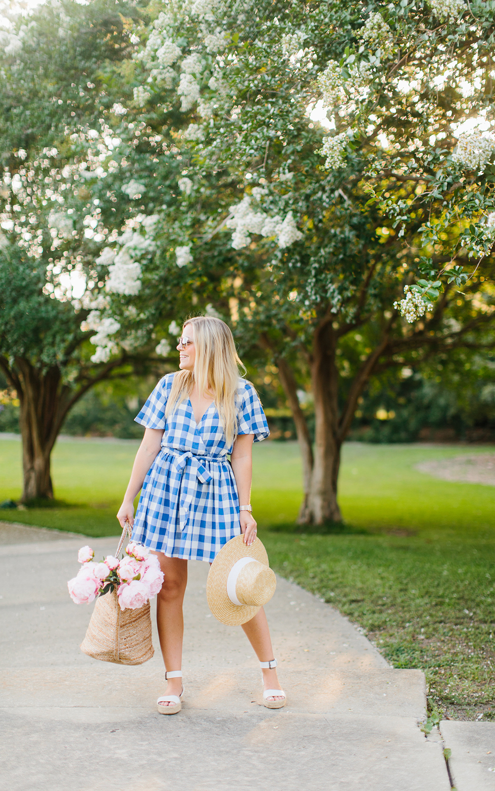 Blue Gingham Wrap Dress