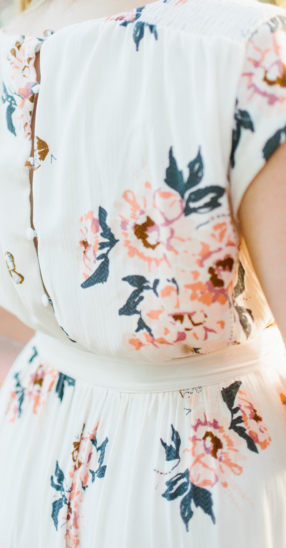 Cream Free People Floral Maxi Amongst Crepe Myrtles