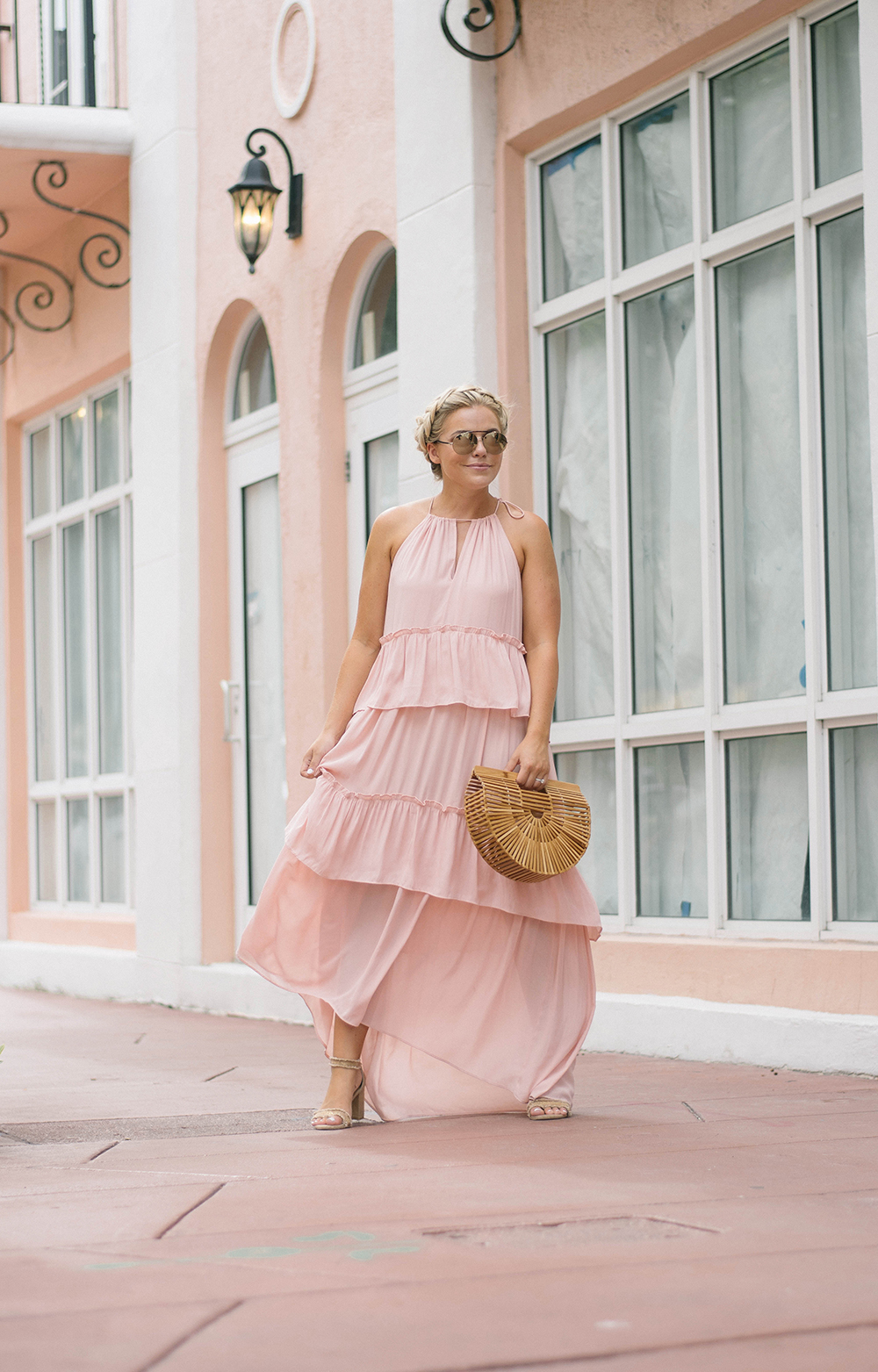 LOFT Blush Tiered Maxi Dress