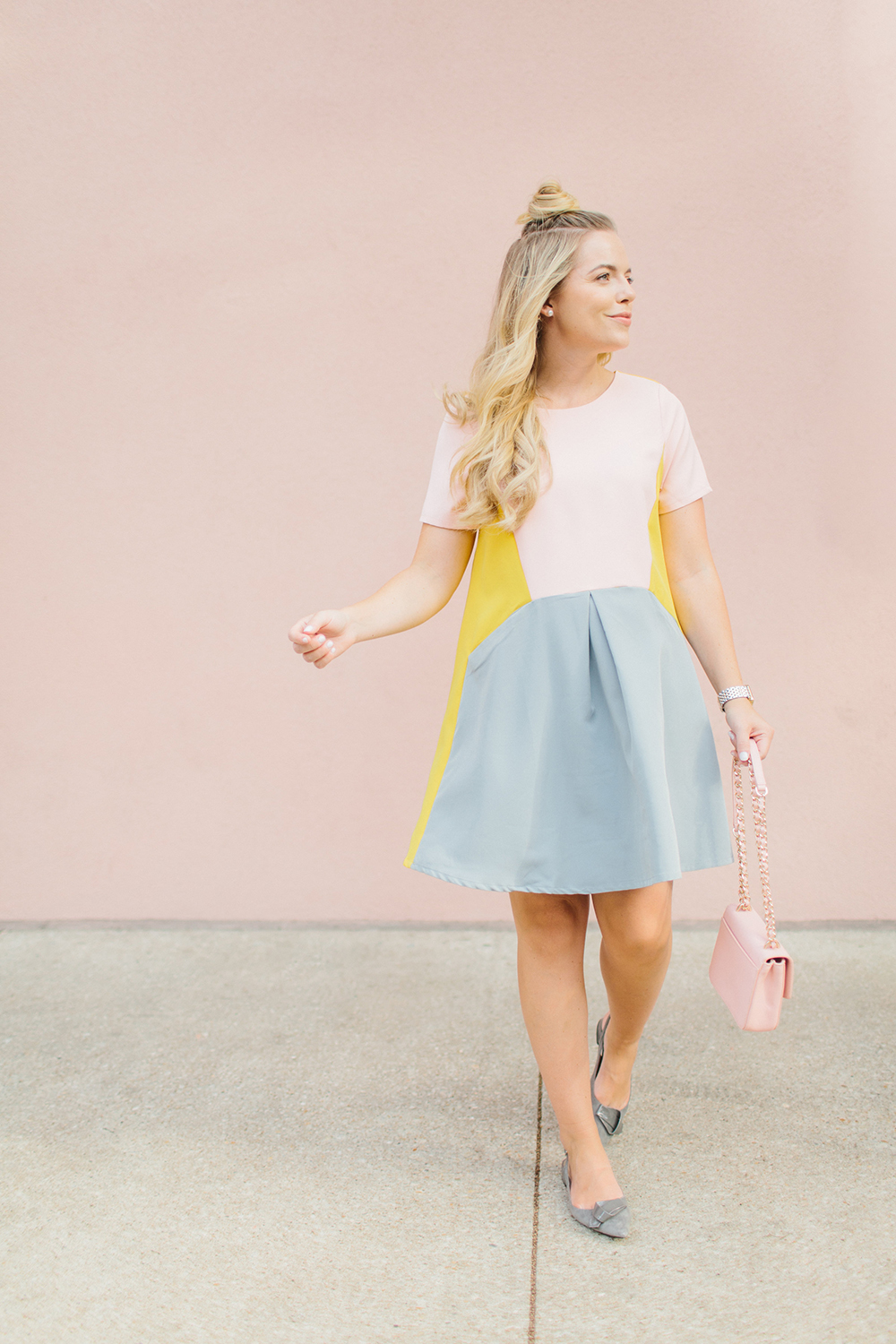 Modern Pink Color-Block Summer Dress